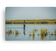 Fisherman Crossing Shallow Water | Fire Island, New York Canvas Print