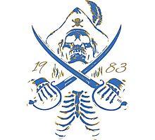 Pirate Skeleton Blue & Gold  Photographic Print