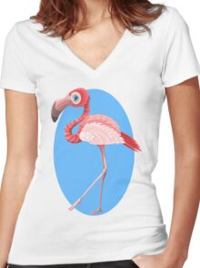 Cute Pink Flamingo Women's Fitted V-Neck T-Shirt