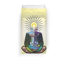 Psychedelic meditating Nature-man Duvet Cover