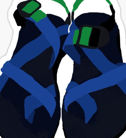 Blue and Green Thick Chacos Sticker