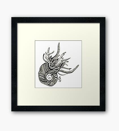 Abstract snail - with drips Framed Print