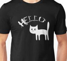 Stylized surprised white cat says Hello Unisex T-Shirt