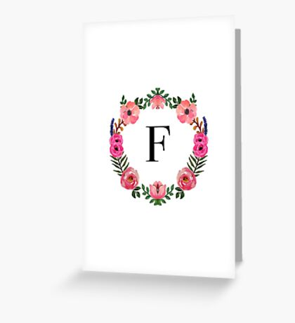 Flower Wreath Letter F Greeting Card