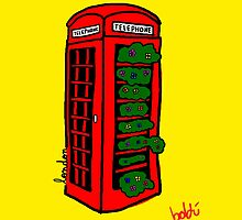 A red but green phonebox by Xavierboldu