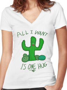 All I Want is ONE Hug Women's Fitted V-Neck T-Shirt