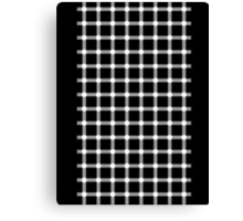 Optical illusion black grid with white dots Canvas Print