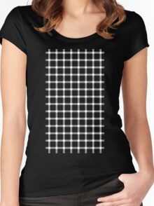 Optical illusion black grid with white dots Women's Fitted Scoop T-Shirt