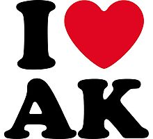 I Love AK Alaska Photographic Print