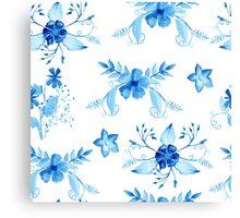 Blue Watercolor Vintage Flowers Canvas Print