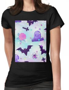 Kawaii funny spooky pattern Womens Fitted T-Shirt