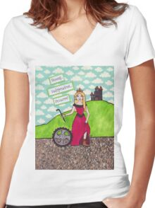 Strong Independent Princess Women's Fitted V-Neck T-Shirt