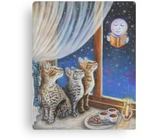 Whimsical Cat Painting -  Moon Tales Canvas Print