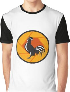 Rooster Crowing Shutter Circle Retro Graphic T-Shirt
