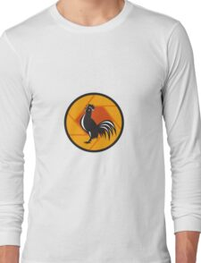 Rooster Crowing Shutter Circle Retro Long Sleeve T-Shirt