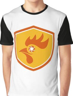 Rooster Eye Shutter Crest Retro Graphic T-Shirt
