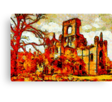 A Leonid style digital painting of  Kirkstall Abbey, Yorkshire, England founded 1152 Canvas Print