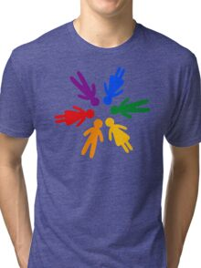 Rainbow People Circle (black background) Tri-blend T-Shirt