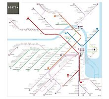 Boston metro subway map Photographic Print