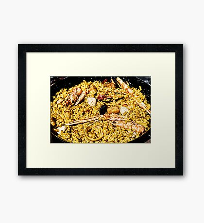 Traditional Valencian Paella With Rice And Seafood Framed Print