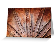 Rivets and screw on rusty machine Greeting Card