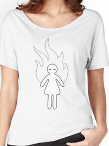 Black & White Angry Girl Women's Relaxed Fit T-Shirt