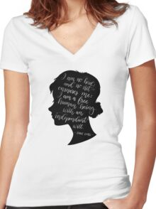 Jane Eyre Quote - Charlotte Bronte Women's Fitted V-Neck T-Shirt