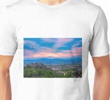 Hidden sunset mountain view Unisex T-Shirt