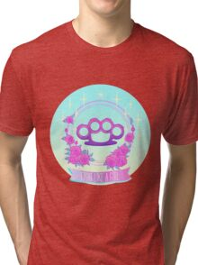 Fight like a girl. Pink glamour brass knuckles. Tri-blend T-Shirt