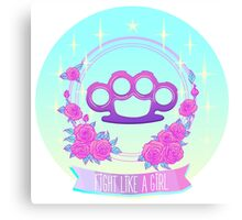 Fight like a girl. Pink glamour brass knuckles. Canvas Print