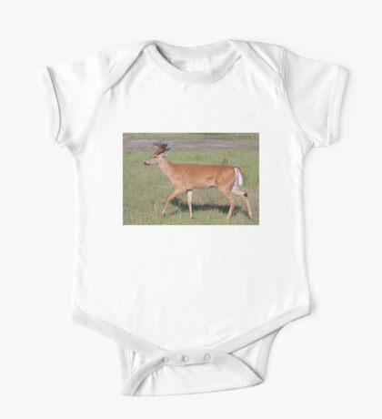 White-tailed deer with velvet antlers in spring One Piece - Short Sleeve