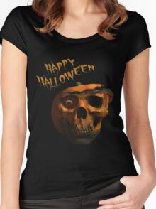 "Halloween ""Pumpkin Skull"" Women's Fitted Scoop T-Shirt"