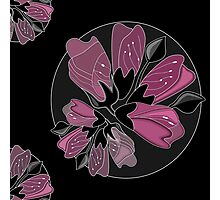 Art nouveau black and dusty pink floral print  Photographic Print