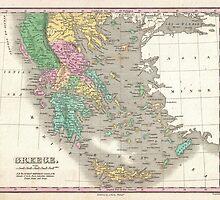 Vintage Map of Greece (1827) by BravuraMedia