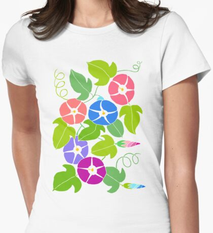 Morning Glory Pattern Womens Fitted T-Shirt
