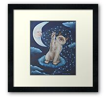 Whimsical Cat Art - Playing with the Moon Framed Print