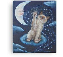 Whimsical Cat Art - Playing with the Moon Canvas Print