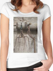 old pitchfork for hay Women's Fitted Scoop T-Shirt