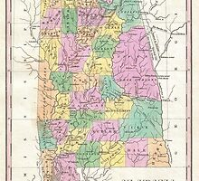 Vintage Map of Alabama (1827) by BravuraMedia