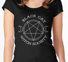 Black Cat Witch Society (white version) Women's Fitted Scoop T-Shirt