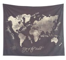 world map 18 Wall Tapestry
