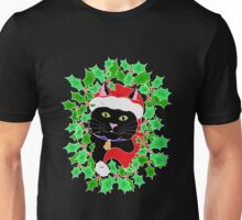 Cute Black Cat with a Christmas Hat Design Unisex T-Shirt