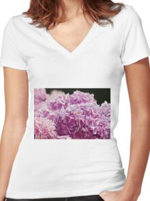 hydrangea in the garden Women's Fitted V-Neck T-Shirt
