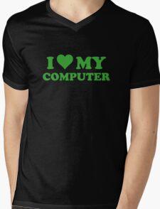 I Love My Computer Mens V-Neck T-Shirt