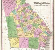 Vintage Map of Georgia (1827) by BravuraMedia
