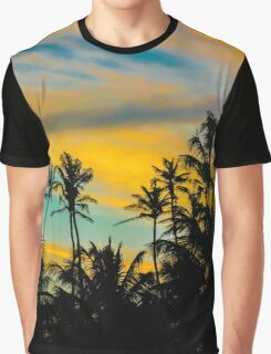 Tropical Scene at Sunset Time Graphic T-Shirt