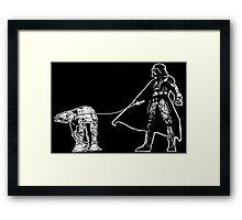 Darth Vader Walking ATAT Framed Print