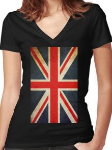 Vintage Union Jack British Flag Women's Fitted V-Neck T-Shirt