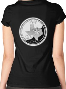 Texas, quarter, dollar, coin, 1845, 2004, State of Texas, American, America, USA, US Women's Fitted Scoop T-Shirt