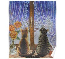 Cat Art - Cats Watching the Snow Fall Poster